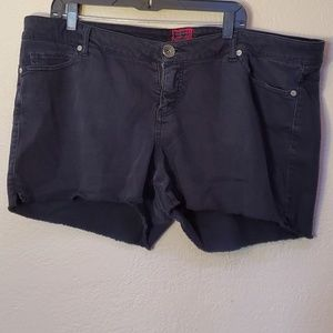 Torrid black jean cut off shorts 22
